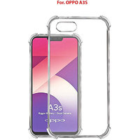 OPPO A3S - Anti-Knock Design Shock Absorbent Bumper Corners Soft Silicone Transparent Back Cover- Oppo A3S
