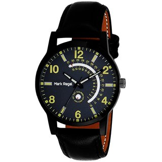 Mark Regal Black  Round Dial Leather Strap Analog Watch For Men (MR071)