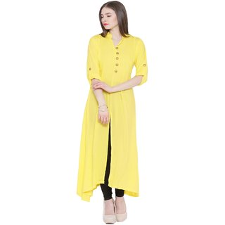 NOWT YELLOW Party and Casual Wear Kurti (RWAPKU002YEL36)