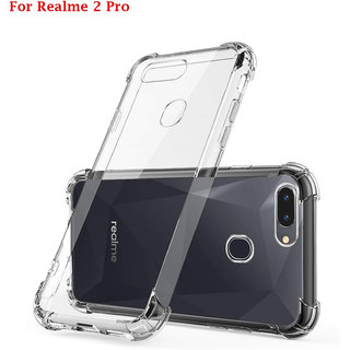 Realme 2 Pro - Anti-Knock Design Shock Absorbent Bumper Corners Soft Silicone Transparent Back Cover- REALME 2 PRO