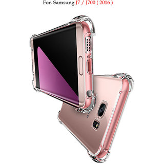 Samsung Galaxy J7  - Anti-Knock Design Shock Absorbent Bumper Corners Soft Silicone Transparent Back Cover For J7
