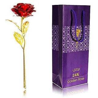 24K Red Gold Rose 10 Inches With Gift Box for Valentines Anniversary  Birthday GiftJee