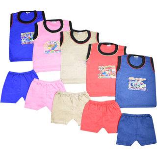 Jisha Unisex Tshirt and Shorts Multicolor Set of 5