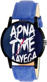 IndiaShop No 1 Casual Blue Analog Leather Quartz Round Watch For Men