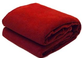 SNS Maroon Abstract Single Bed Fleece Blanket (240 cm x 150 cm) - Set Of 1