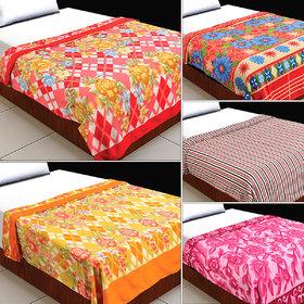 Single Bed Fleece Blanket Assorted Design/Color - Set Of 1