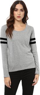 Leotude Grey Plain Round Neck Tshirts  For Women
