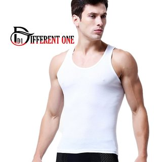 (PACK OF 1) Different One Men's Soft Cotton White RN Vest