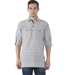 Khadio Men's Grey Kurtas