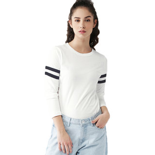 Leotude White Plain Round Neck Tshirts  For Women