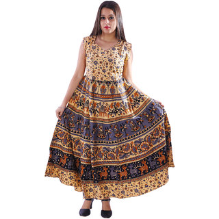 AZAD DYEING Cotton Women's Maxi Long Dress Jaipuri Printed Casual Sleeveless Dresses
