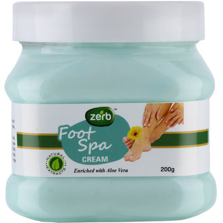 Zerb Foot Spa Cream Enriched With Aloe Vera And Natural Extract Helps To Removes Oil Dirt Tan And Exfoliates Skin - 200gm