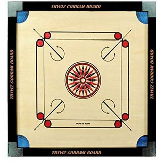 MJ Quality Brown 20 x20 inches carrom board ludo Game with free 24 coins 2 striker 1 powder best matarial Board Game ()