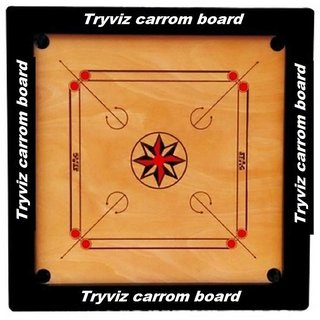 TryViz KKS Full size(Large) 32 Inches Cut Pocket Carrom Board with Free COINS STRIKER CARROM POWDER ((Free Of Cost)) Board Game ()