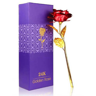 24K Gold Plated Red Rose with Unique Gift Box - Best Gift for Love Ones
