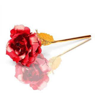 Best Gift For Valentine's Day Gift 24k Gold Plated Red Leaf Rose for Your Love Ones