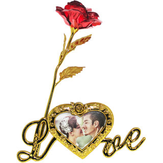 Valentine's Gift 24k Red Leaf Rose Flower With Beautiful Love Photo Frame Love Stand