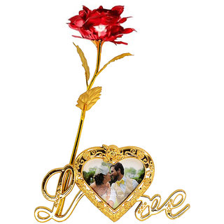 24k Gold Plated Red Leaf Rose Flower With Photo Frame Love Stand