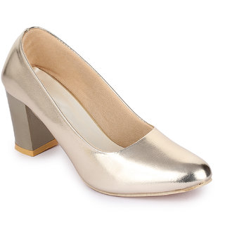 Sapatos Women Gold Block Heels