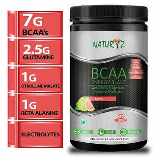 Naturyz Instantized BCAA Energy Blast with 7000 BCAA, Glutamine, Citrulline  Beta Alanine Guava - 450Gms