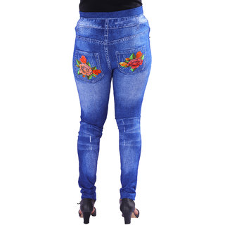 attractive price authentic quality variety of designs and colors AZAD DYEING Womens High Waist Stretch Skinny Pearl Printed Denim Jeggings  (Best Fit to Size 26, 28, 30)