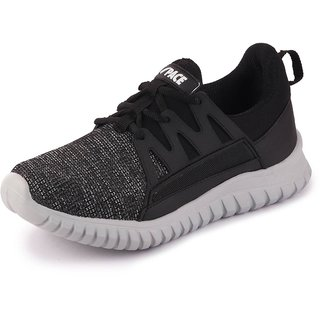 Lakhani Pace Men's Black White Sports Running Shoes