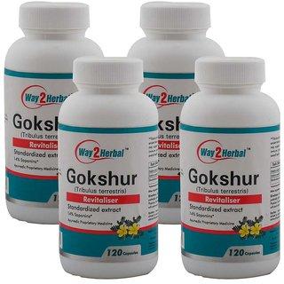 Way2Herbal Gokshur 120 capsules (Pack of 4)