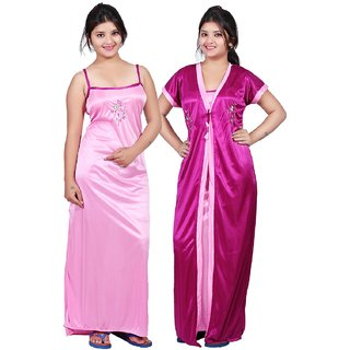 Women's 2pc Satin Nighty With Robe