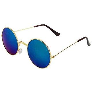 Meia Round Blue Mirrored Sunglasses