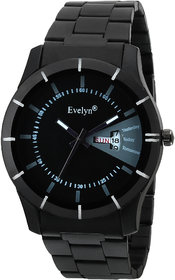 Evelyn Black Dial Analog Sports Watch for Men Boys  Black Stainless Steel Casual Stylish