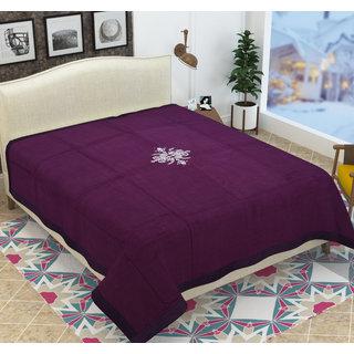 Azaani Purple Embroidery Double Bed Blanket