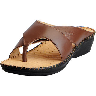 60025c16085f Dr.Scholls Women s Brown Leather House and Daily Wear Wedge Slippers