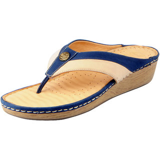 Dr.Scholls Women's Blue Cream Leather House and Daily Wear Wedge Slippers
