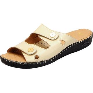 Dr.Scholls Women's Cream Leather Slippers