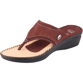 Dr.Scholls Women's Premium Leather Brown Slippers