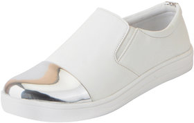 Fausto Women's White Silver Stylish Loafers Casual Shoes