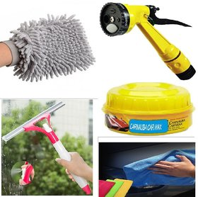 Cleaning Combo of 5 (Microfiber Cloth,  Glass Wiper, 4 Pattern, Microfiber Gloves and car & bike Polish)