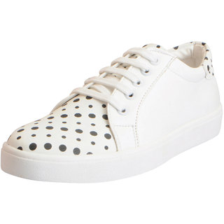 Fausto Women's White Dotted Sneakers Casual Shoes
