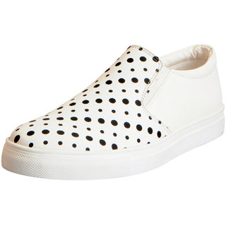Fausto Women's White Dotted Loafers Casual Shoes