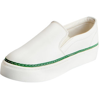 Fausto Women's White Green Trendy Loafers