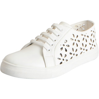 Fausto Womens White Stylish Sneakers
