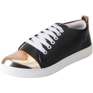 Fausto Women's Black Golden Trendy Sneakers Casual Shoes