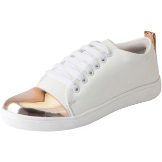 Fausto Womens White Golden Trendy Sneakers Casual Shoes