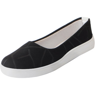 Fausto Women's Black Stylish Canvas Ballerina