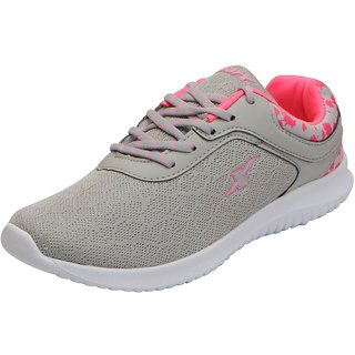 Sparx Womens Grey Pink Mesh Sports Running Shoes