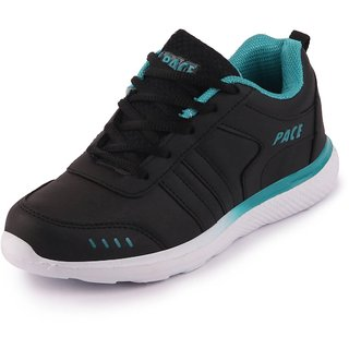 Lakhani Pace Energy Womens Black Green Sports Running Shoes