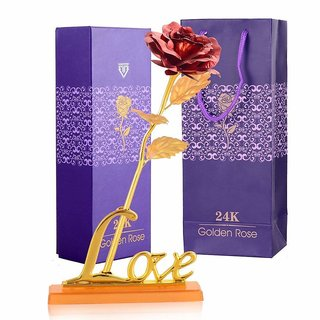 24K Red Gold Rose with Golden Love Stand Best Gift for Valentines Day free Gift Box and Carry Bag