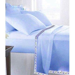 HomeStore-YEP Plain 100 Cotton Single Bed Sheet/Top Sheet/AC Sheet - Pack of 1 Pc (Size - 60x90 inches) (Blue)