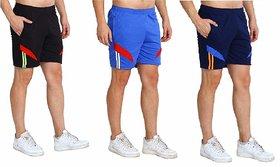 Multicolor Plain Cotton Blend Sports Shorts by Dia A Dia