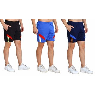 Multicolor Plain Cotton Blend Sports Shorts by Dia A Dia